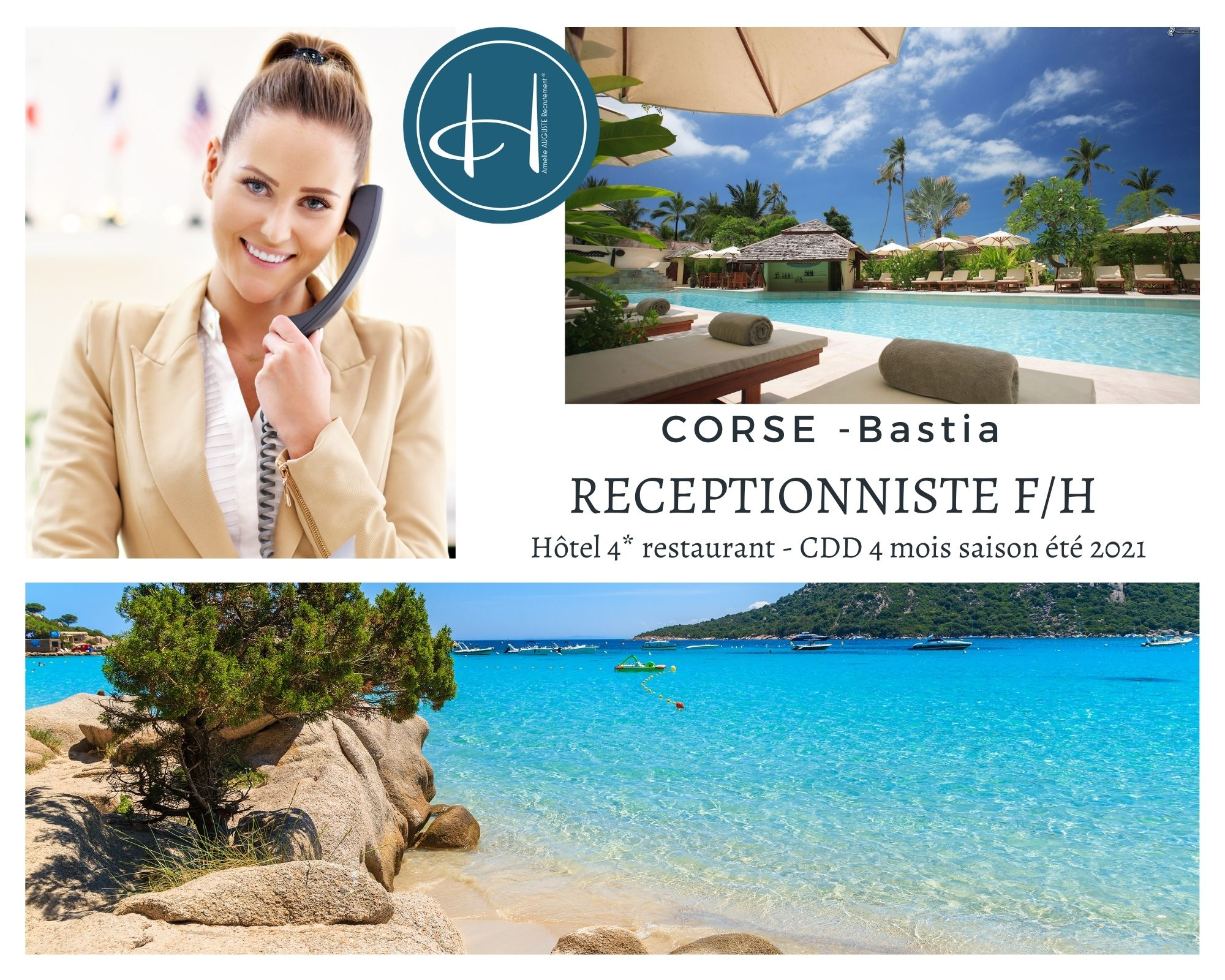 Recrutement: Réceptionniste hôtel 4* F/H chez Armelle AUGUSTE Recrutement® à Bastia
