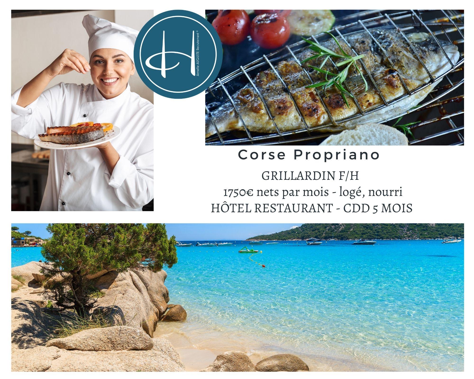 Recrutement: Grillardin en Corse Propriano saison été 2021 F/H chez Armelle AUGUSTE Recrutement® à Propriano