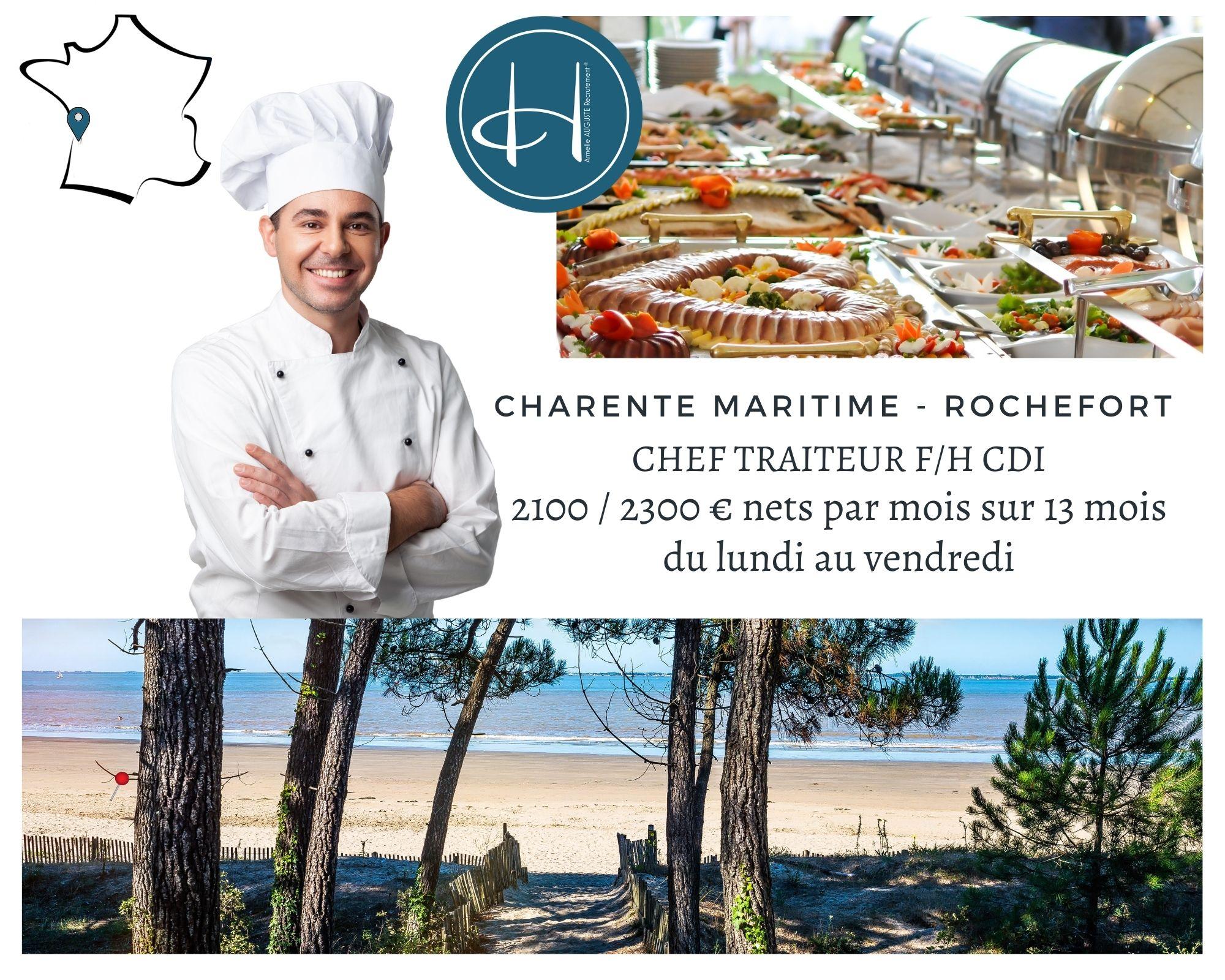 Recrutement: Chef de cuisine Traiteur F/H chez Armelle AUGUSTE Recrutement® à Rochefort