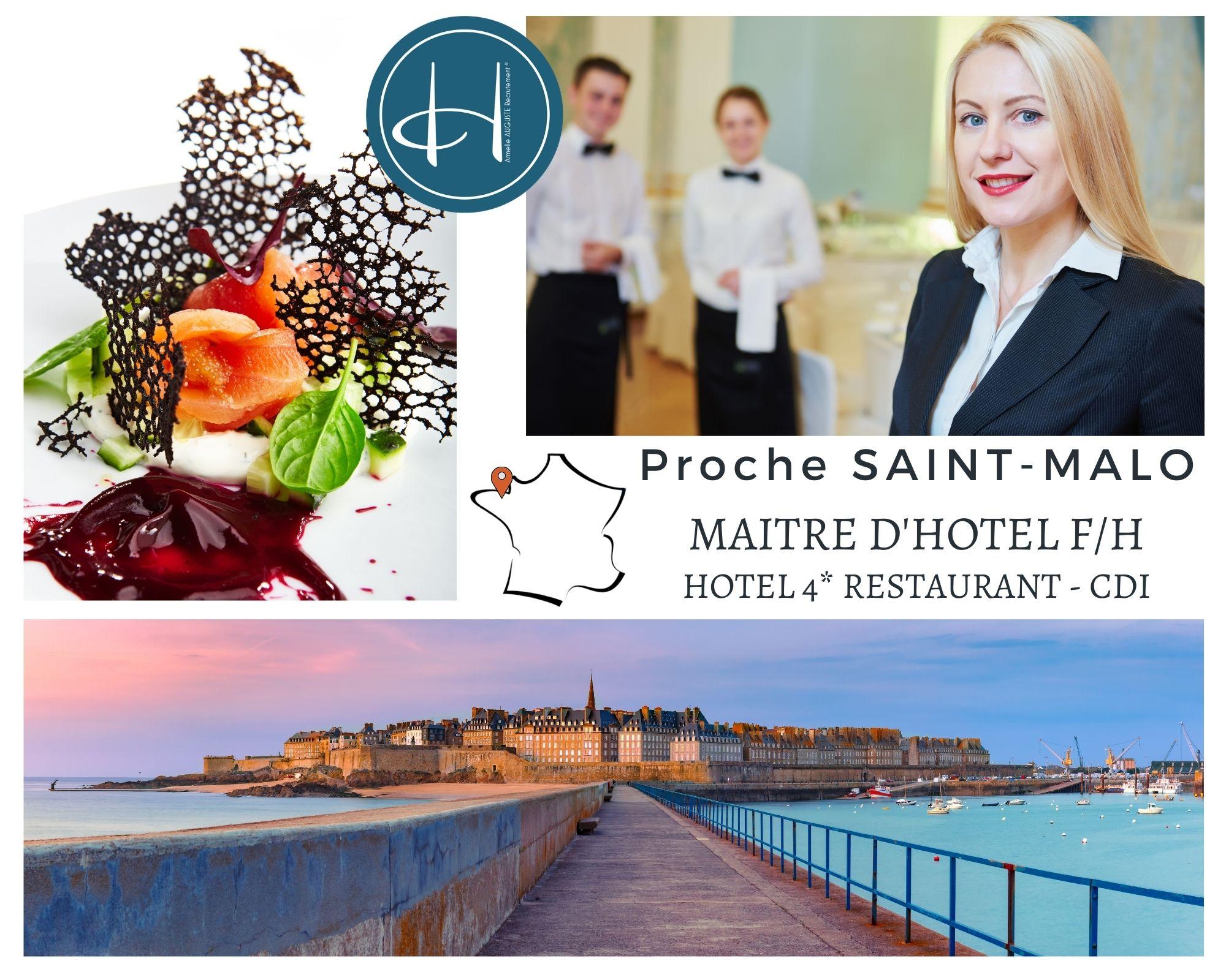 Recrutement: Maître d'hôtel - Hôtel 4* restaurant étoilé - proche Saint Malo F/H chez Armelle AUGUSTE Recrutement® à Saint-Malo