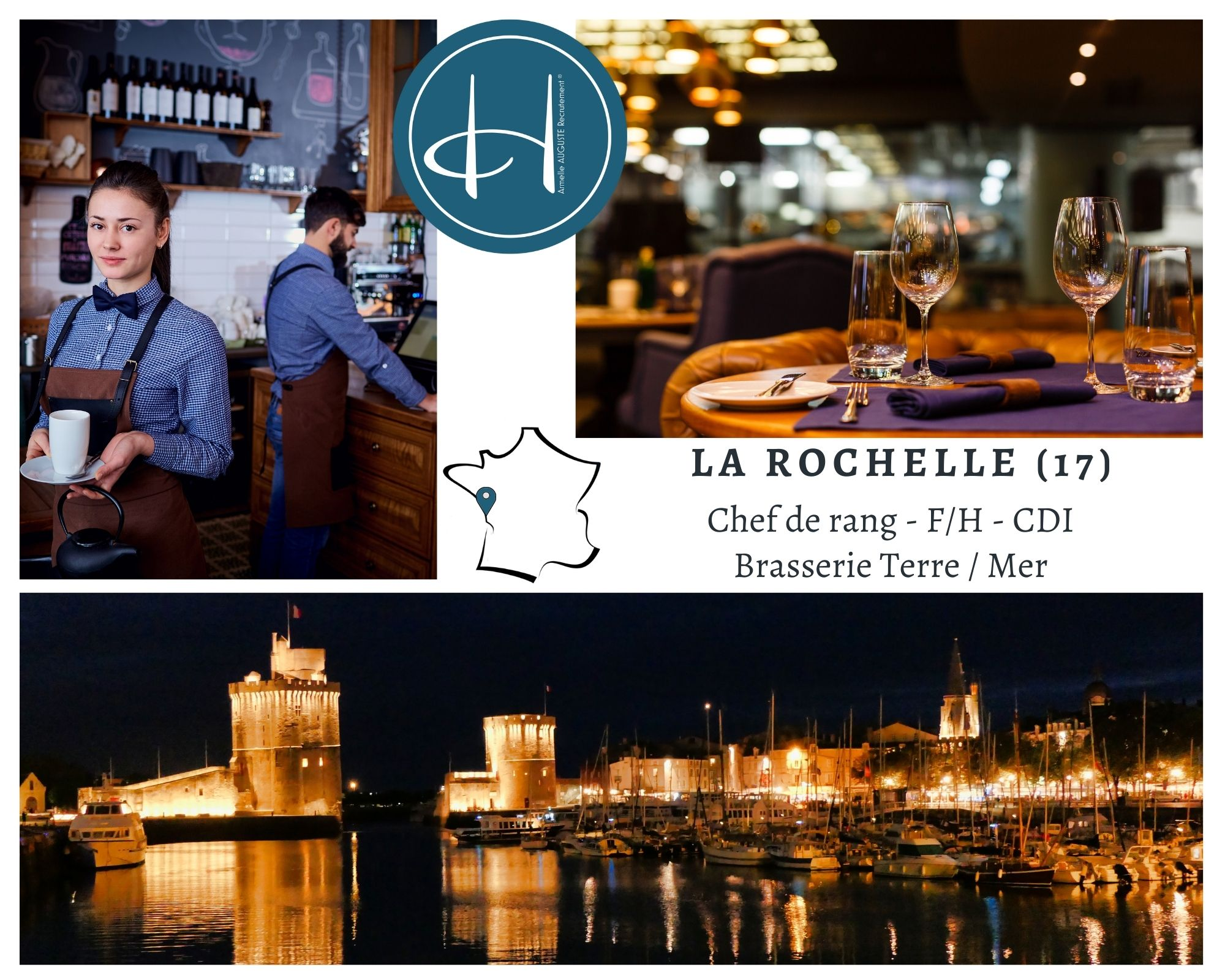 Recrutement: Chef de rang Brasserie Terre/Mer La Rochelle (17) F/H chez Armelle AUGUSTE Recrutement® à la rochelle