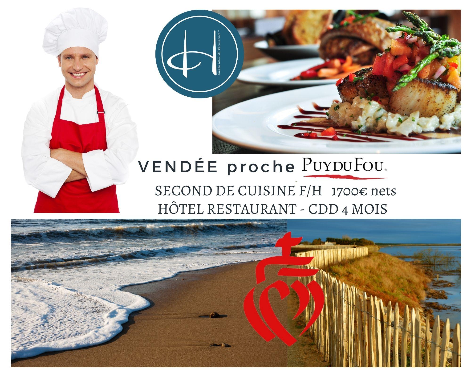 Recrutement: Second de cuisine F/H chez Armelle AUGUSTE Recrutement® à Les Epesses