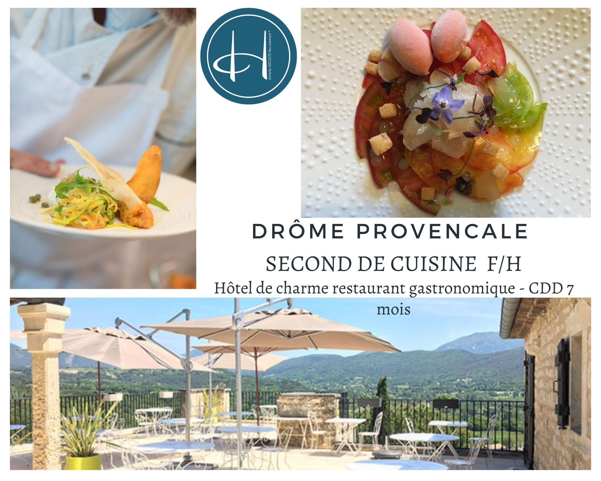 Recrutement: Second de cuisine hôtel de charme restauration haut de gamme F/H chez Armelle AUGUSTE Recrutement® à Le Poët-Laval