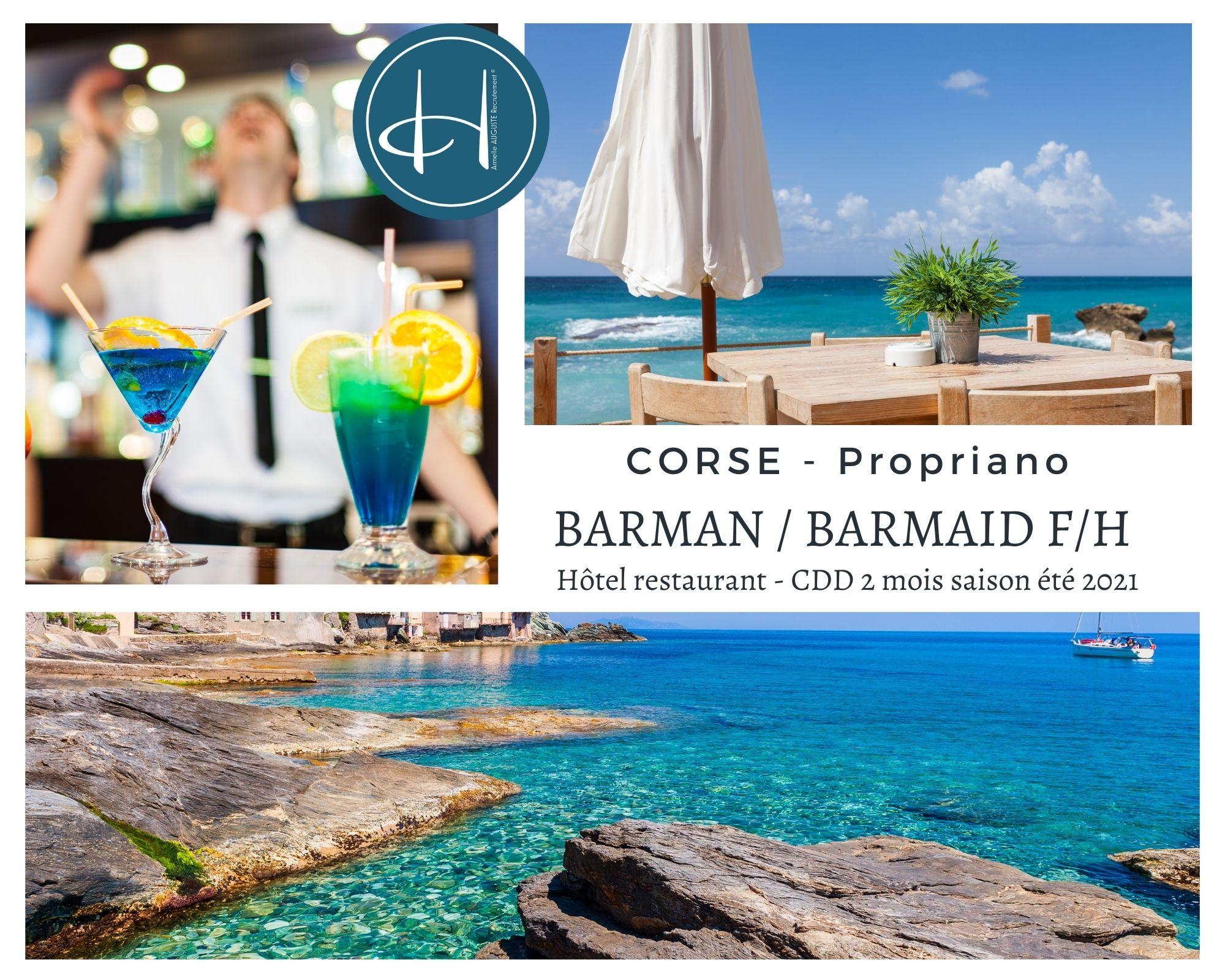 Recrutement: barman/barmaid F/H chez Armelle AUGUSTE Recrutement® à Propriano