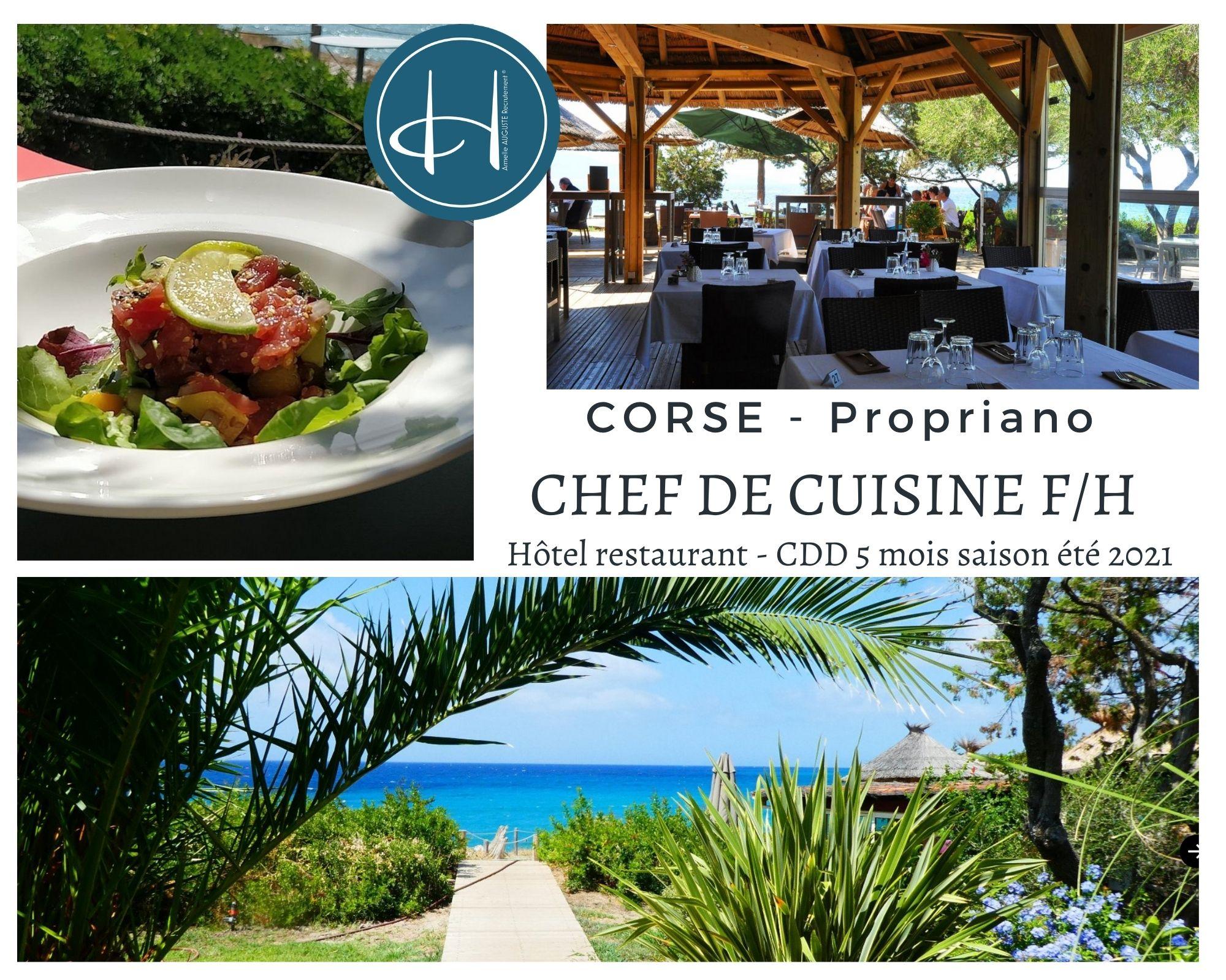 Recrutement: Chef de cuisine Corse Propriano saison été 2021 F/H chez Armelle AUGUSTE Recrutement® à Propriano