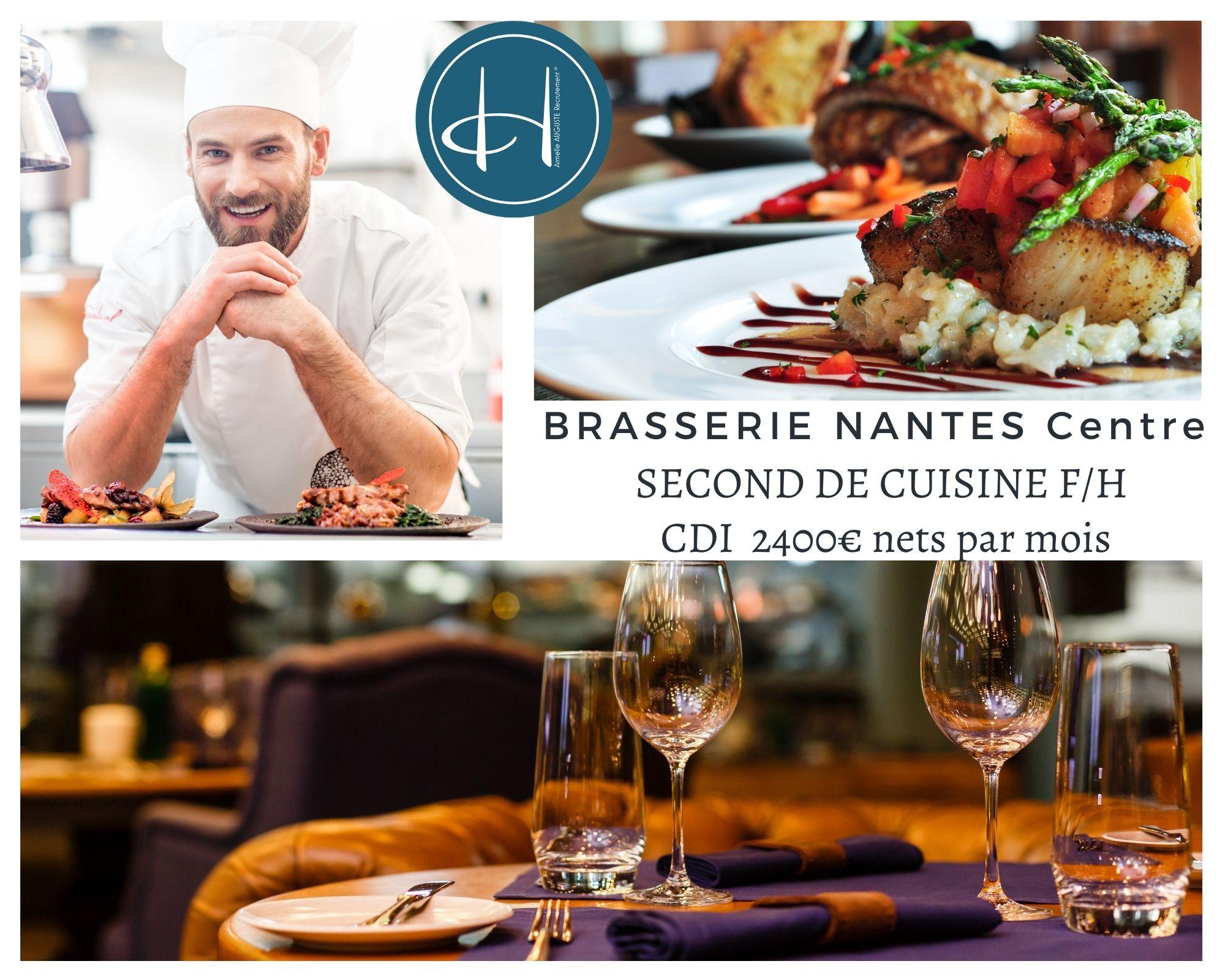 Recrutement: Second de cuisine - Brasserie haut de gamme - Nantes Centre F/H chez Armelle AUGUSTE Recrutement® à Nantes