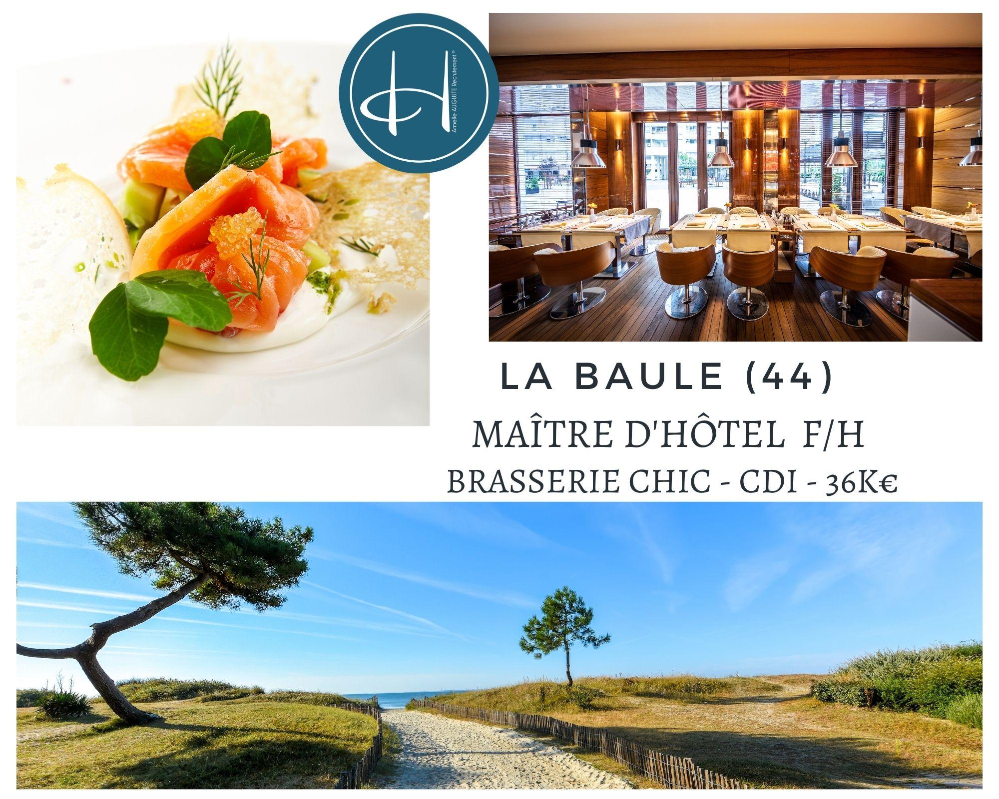 Recrutement: Maître d'hôtel Brasserie Chic la Baule F/H chez Armelle AUGUSTE Recrutement® à La Baule-Escoublac