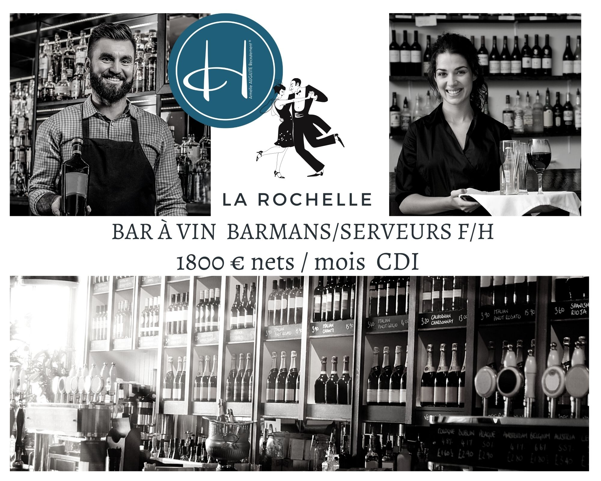 Recrutement: Barmans/serveurs - Bar à vin - La Rochelle F/H chez Armelle AUGUSTE Recrutement® à La Rochelle