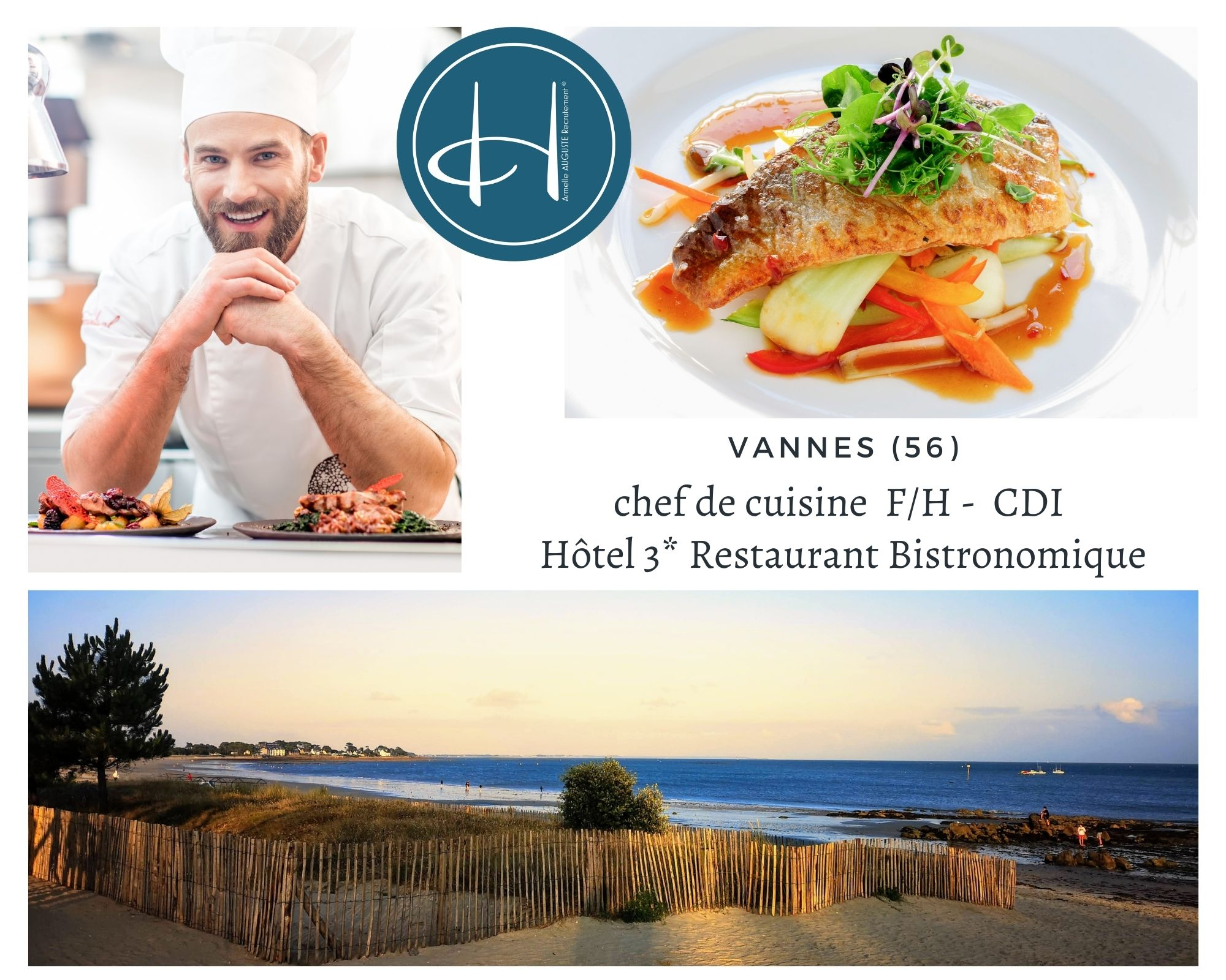 Recrutement: Chef de cuisine hôtel restaurant Bistronomique Vannes Bretagne F/H chez Armelle AUGUSTE Recrutement® à vannes