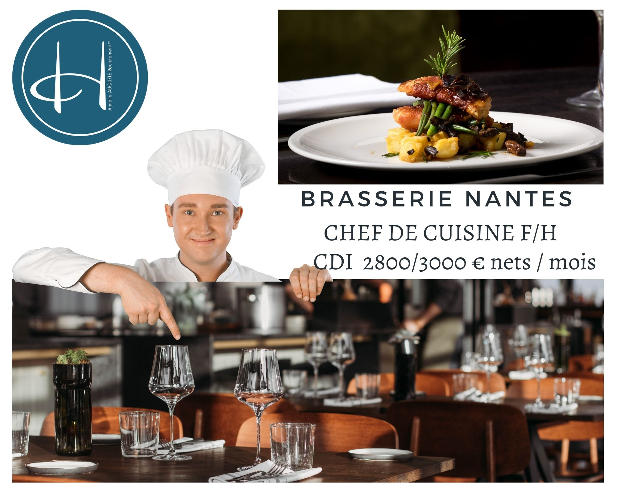 Recrutement: Chef de cuisine Brasserie F/H chez Armelle AUGUSTE Recrutement® à Nantes