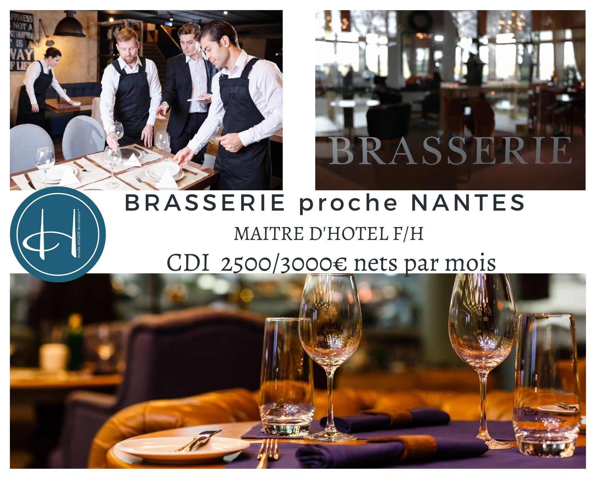 Recrutement: Maître d'hôtel - Brasserie haut de gamme F/H chez Armelle AUGUSTE Recrutement® à Nantes