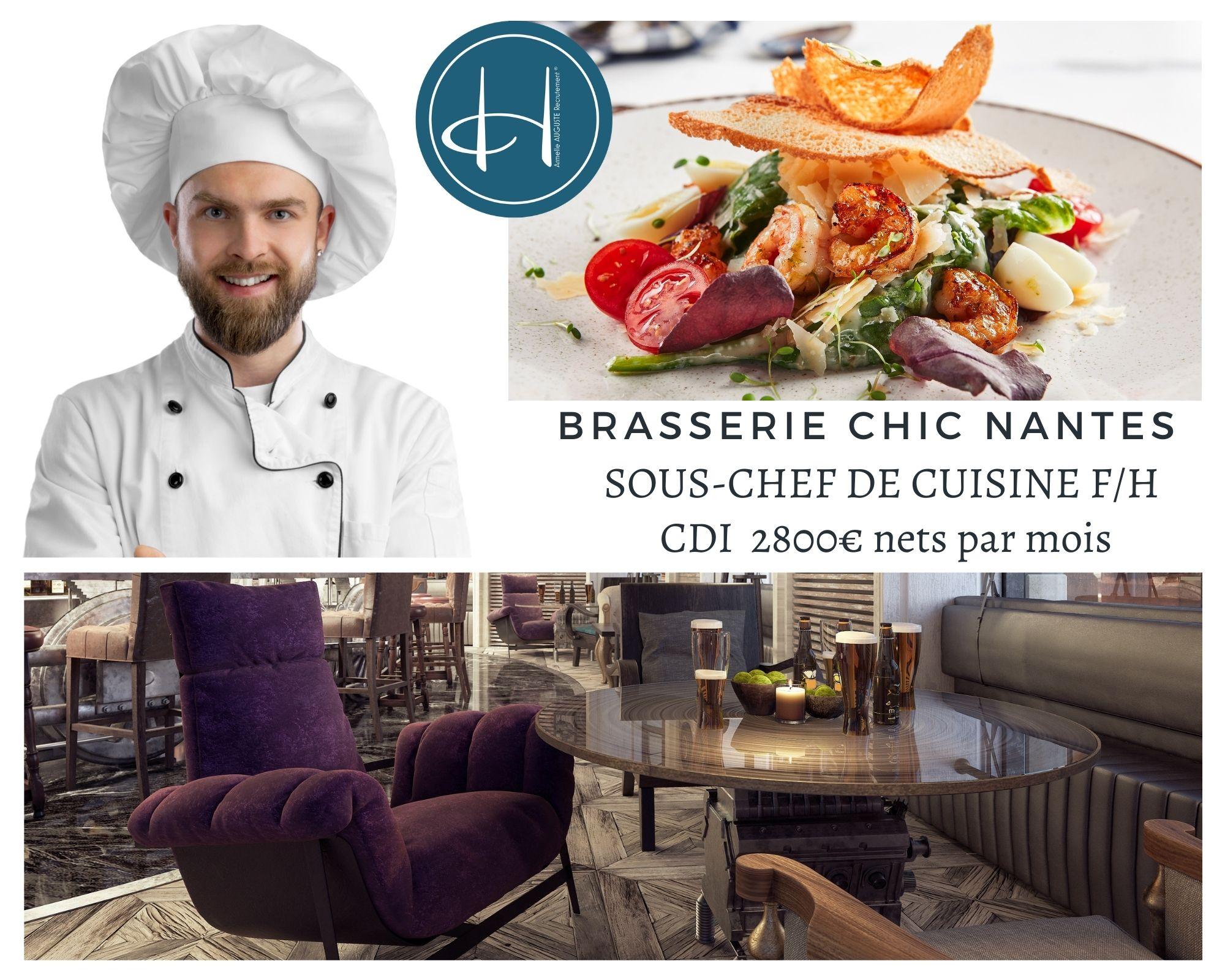 Recrutement: Second de cuisine brasserie haut de gamme proche Nantes F/H chez Armelle AUGUSTE Recrutement® à Nantes