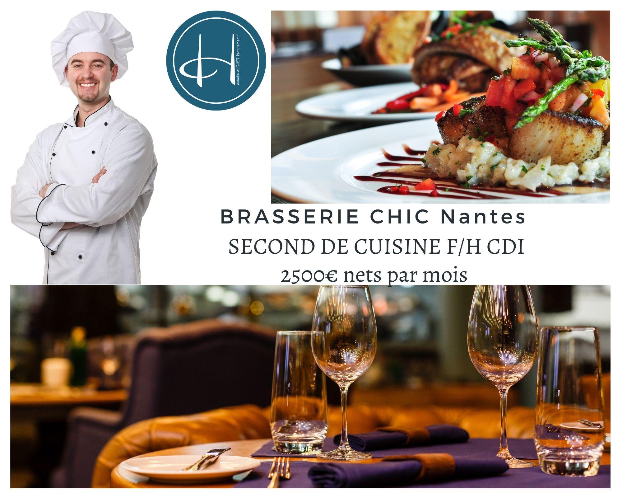 Recrutement: Second de cuisine brasserie haut de gamme au coeur de Nantes F/H chez Armelle AUGUSTE Recrutement® à Nantes