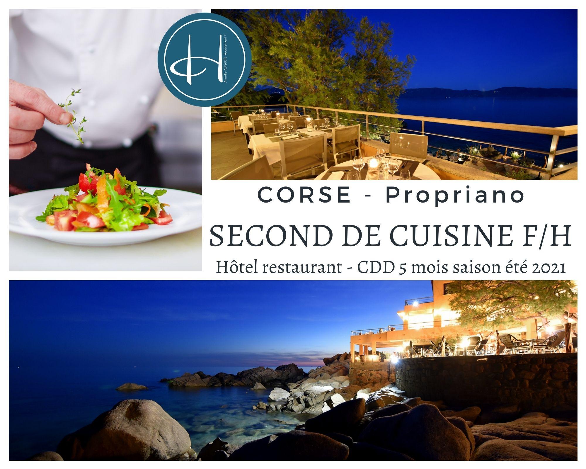 Recrutement: Second de cuisine en Corse Propriano saison été 2021 F/H chez Armelle AUGUSTE Recrutement® à Propriano