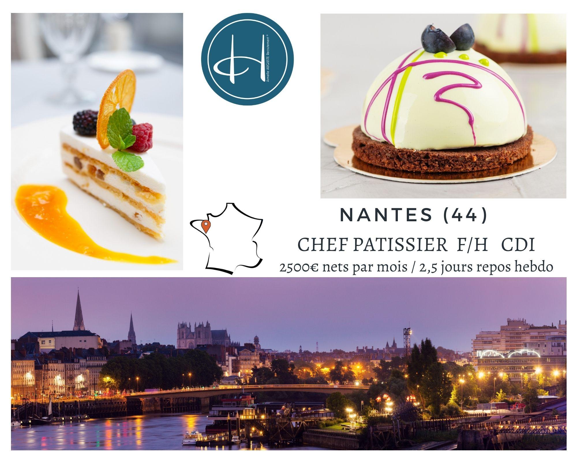 Recrutement: Chef pâtissier brasserie haut de gamme Nantes F/H chez Armelle AUGUSTE Recrutement® à Nantes