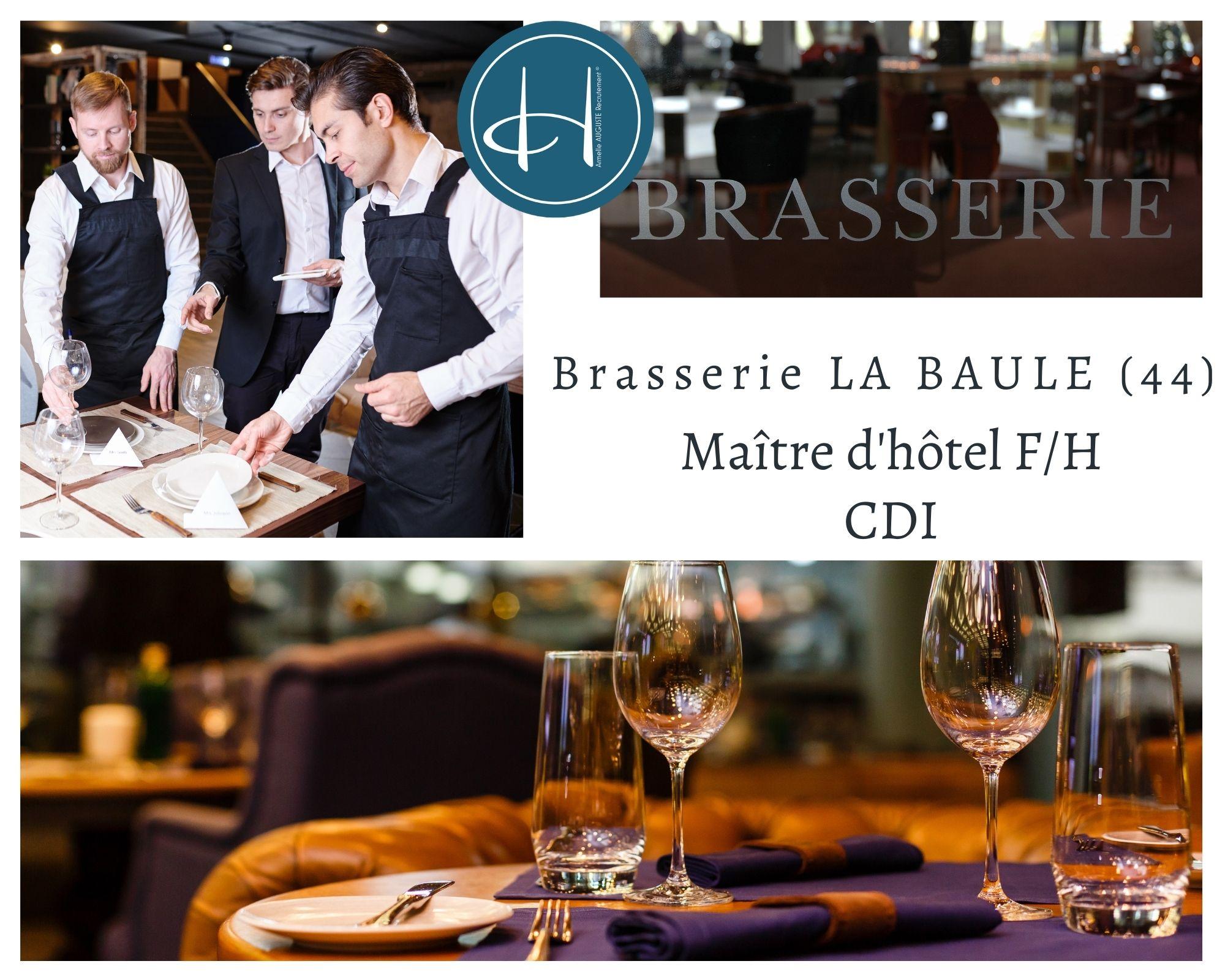 Recrutement: Maître d'hôtel Brasserie F/H chez Armelle AUGUSTE Recrutement® à La Baule-Escoublac