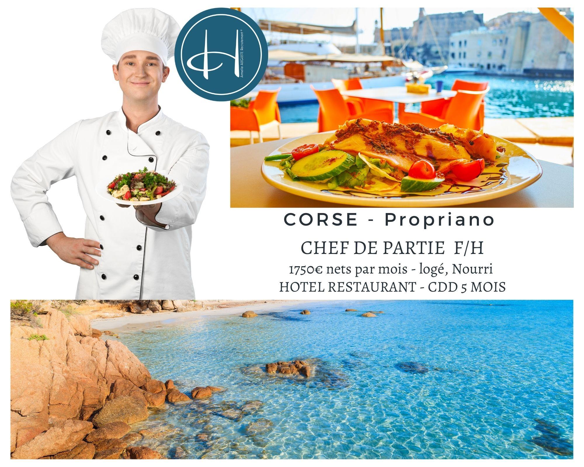 Recrutement: Chef de partie chaud/froid en Corse Propriano saison été 2021 F/H chez Armelle AUGUSTE Recrutement® à Propriano