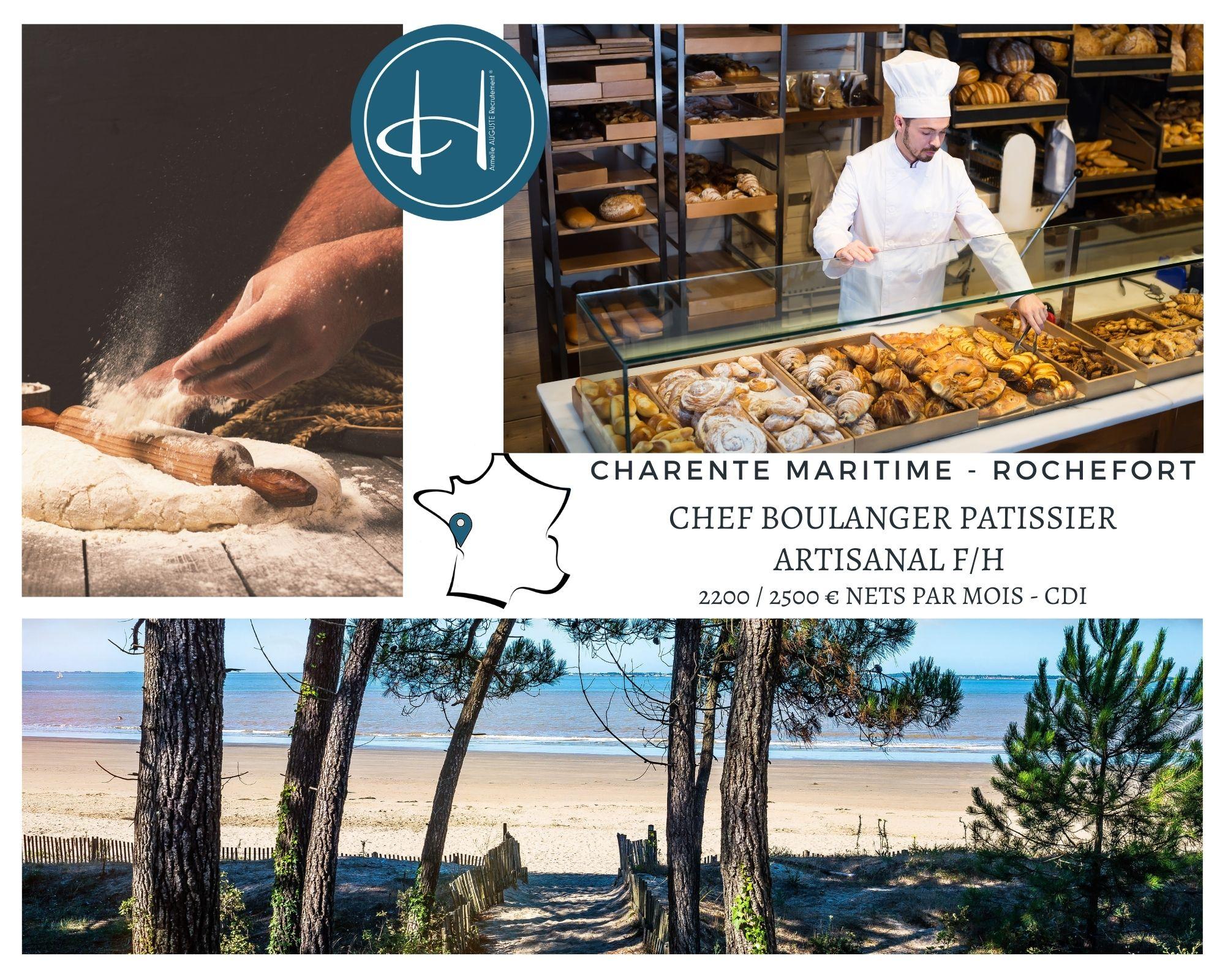 Recrutement: Chef Boulanger pâtissier artisanal F/H chez Armelle AUGUSTE Recrutement® à Rochefort