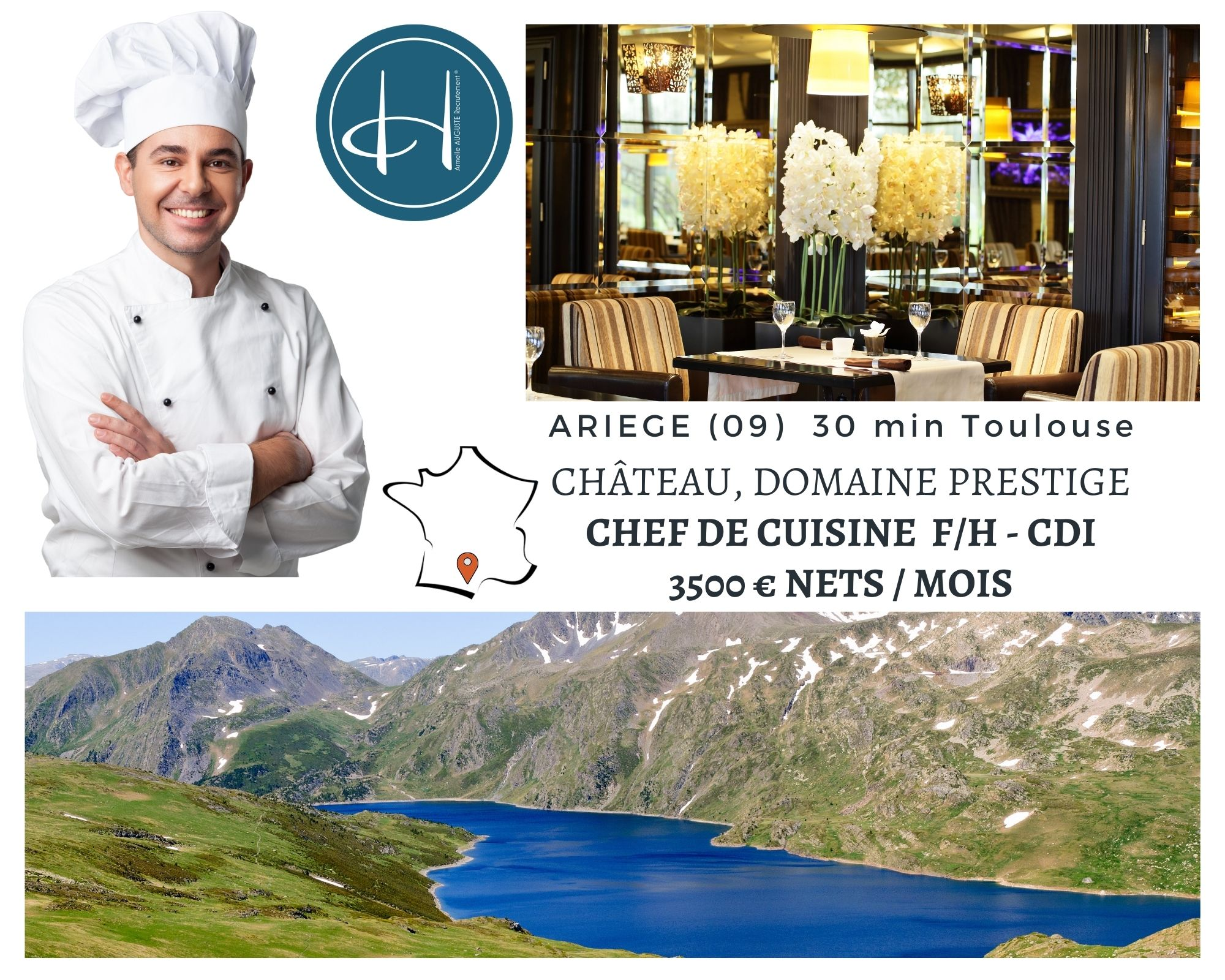 Recrutement: Chef de cuisine - Château domaine Prestige - Ariège F/H chez Armelle AUGUSTE Recrutement® à Foix