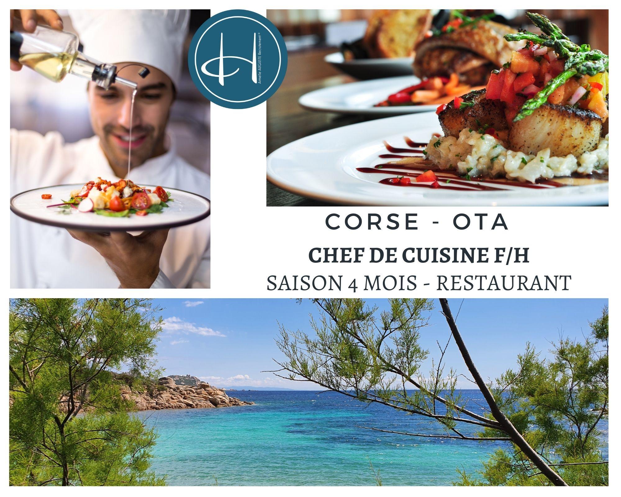 Recrutement: Chef de cuisine saison été en Corse F/H chez Armelle AUGUSTE Recrutement® à Ota