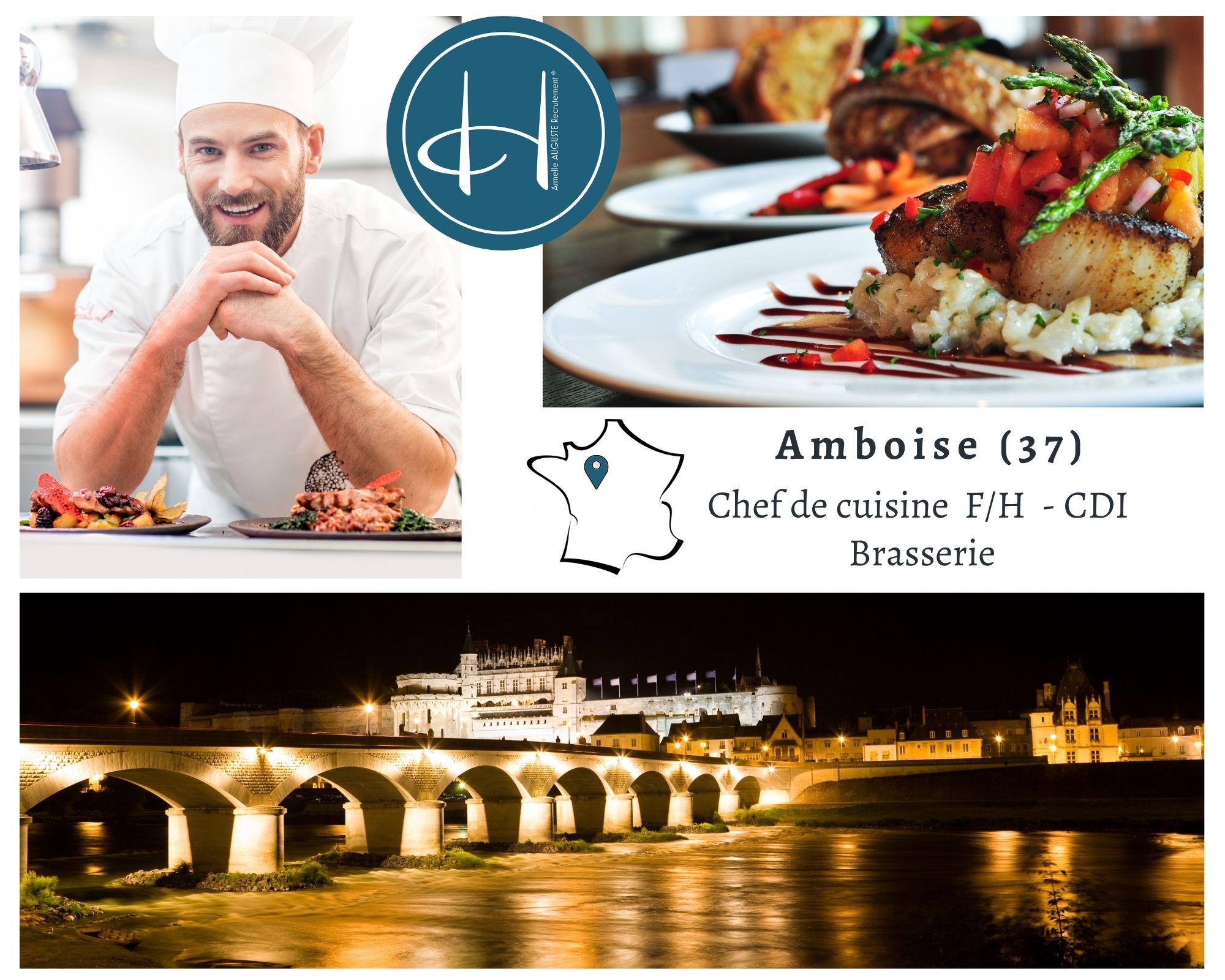 Recrutement: Chef de cuisine brasserie F/H chez Armelle AUGUSTE Recrutement® à Amboise