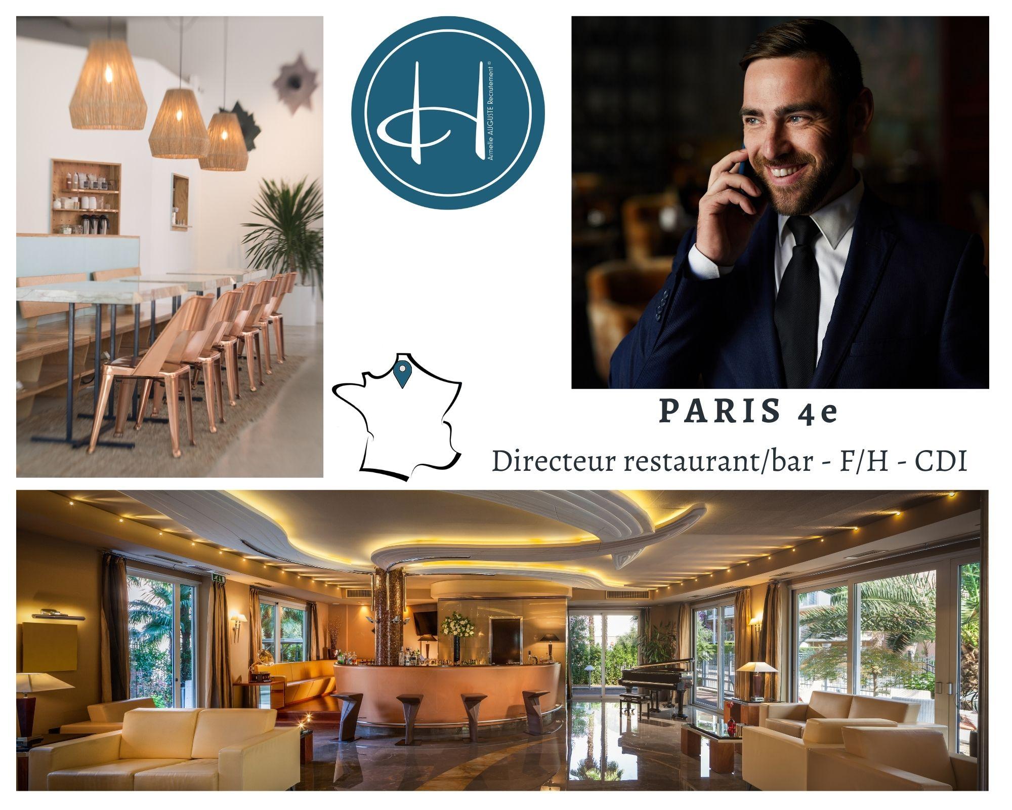 Recrutement: Directeur-rice de restaurant/bar F/H chez Armelle AUGUSTE Recrutement® à Paris