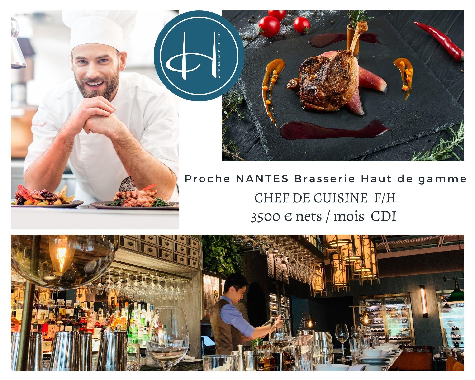 Recrutement: Chef de cuisine brasserie haut de gamme F/H chez Armelle AUGUSTE Recrutement® à Nantes
