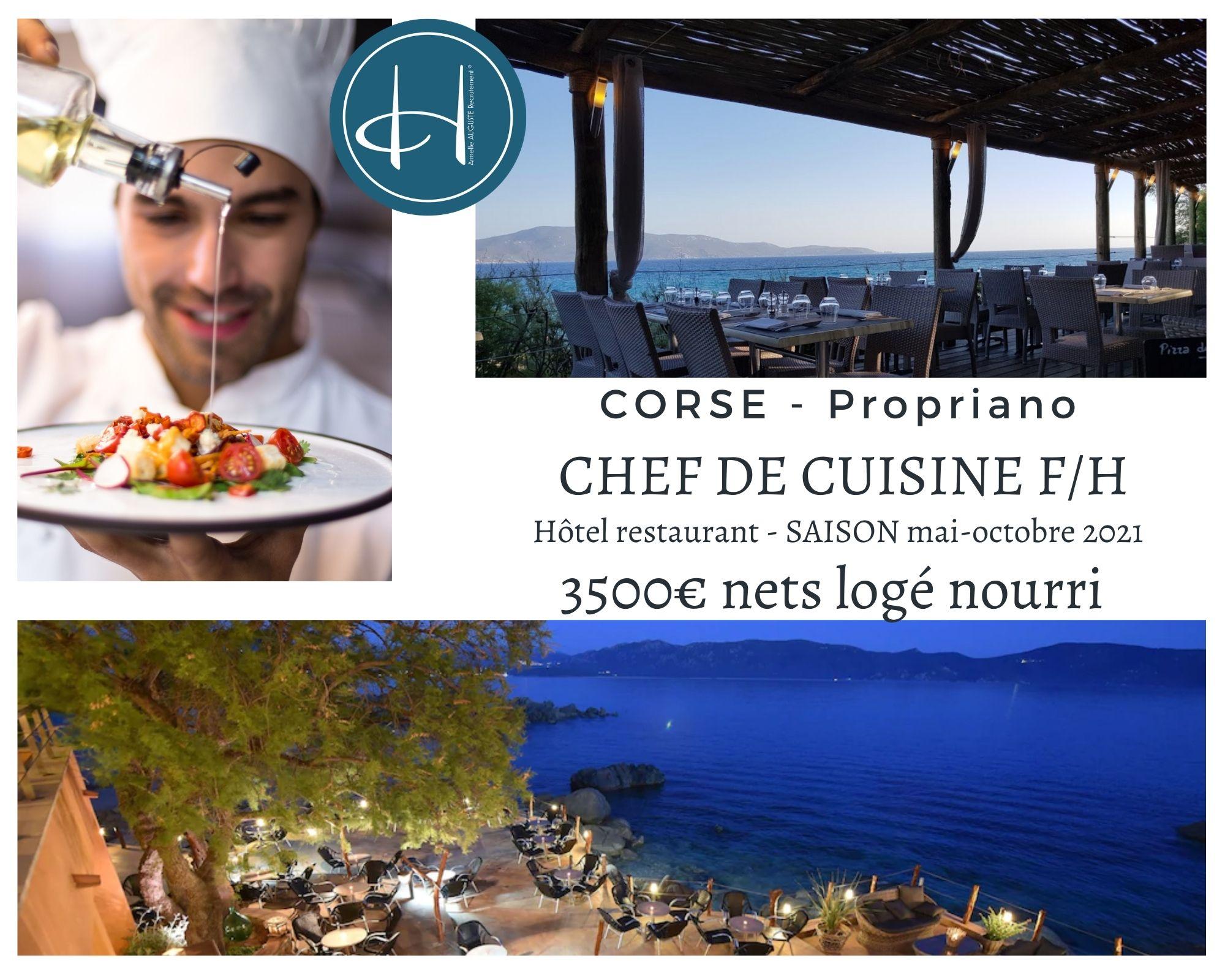 Recrutement: Chef de cuisine saison été 2021 en Corse à Propriano F/H chez Armelle AUGUSTE Recrutement® à Propriano