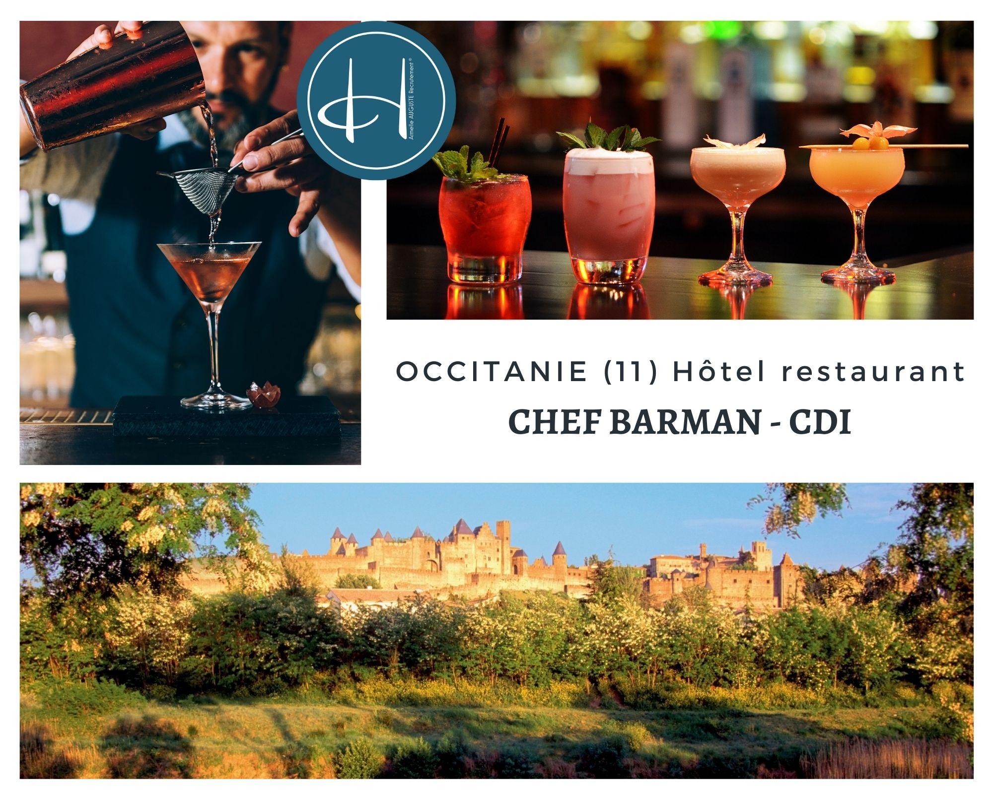 Recrutement: Chef Barman F/H chez Armelle AUGUSTE Recrutement® à Castelnaudary