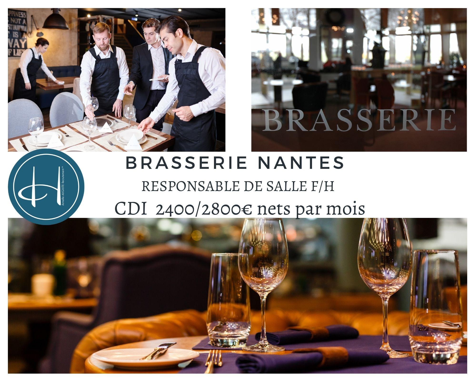 Recrutement: Responsable de salle - Brasserie - Nantes F/H chez Armelle AUGUSTE Recrutement® à Nantes