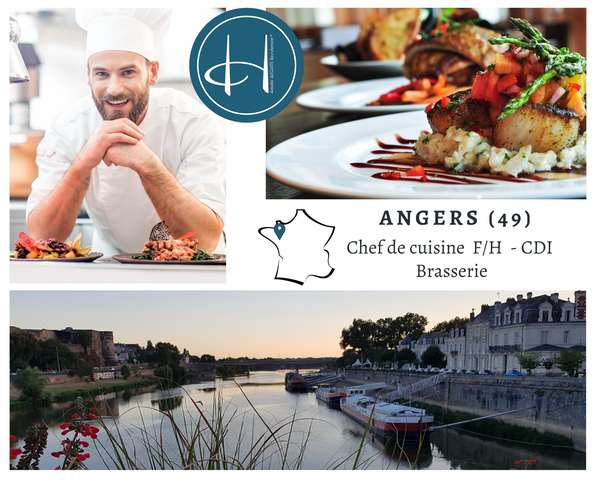 Recrutement: Chef de cuisine brasserie F/H chez Armelle AUGUSTE Recrutement® à Angers